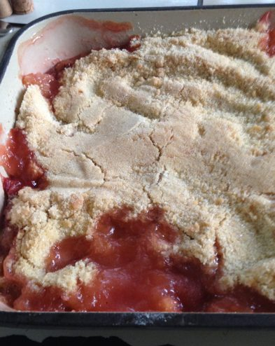 gooseberry & strawberry crumble