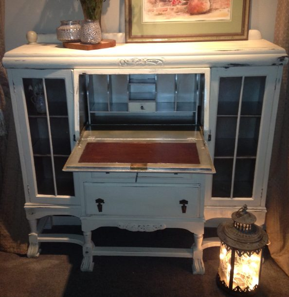 chalk painted antique bureau