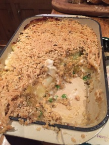Fish pie with leeks and cider